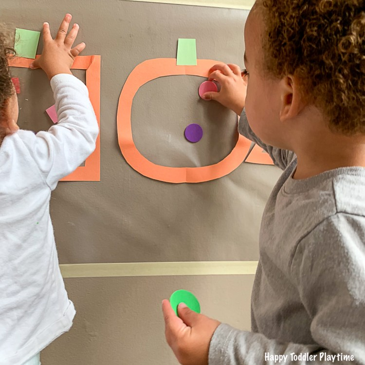 Pumpkin Shapes Sticky Wall for toddlers and preschoolers