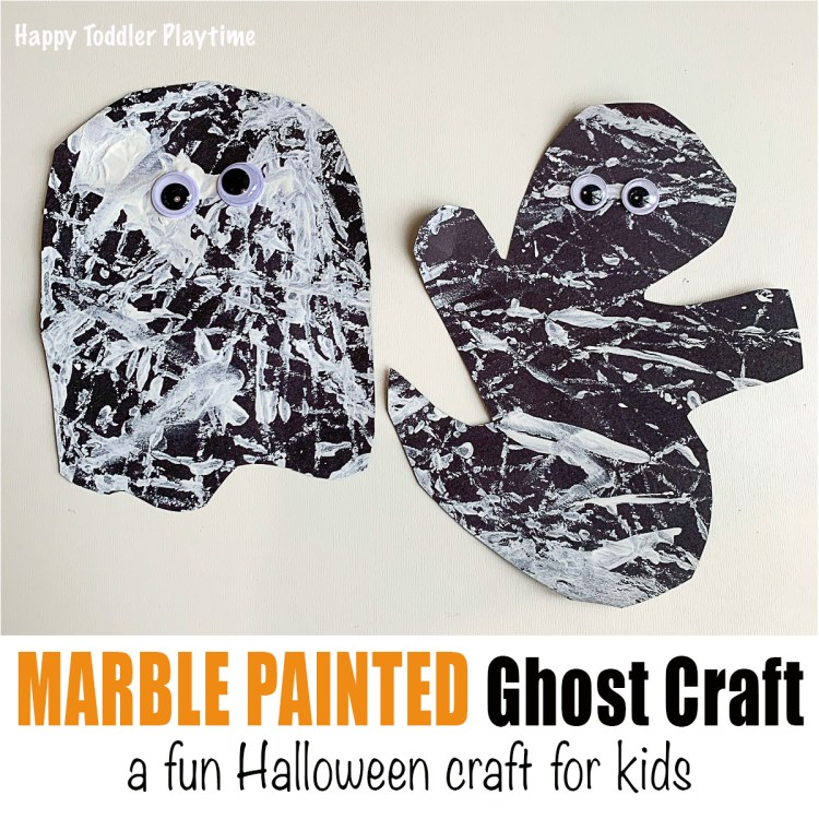 Marble Painted Ghost Craft halloween craft for toddlers and preschoolers