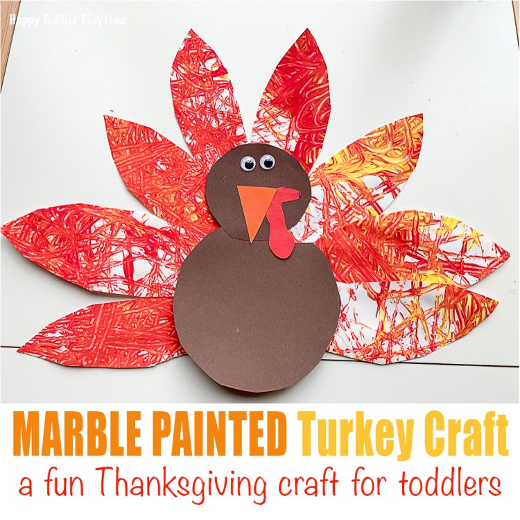 Marble Painted Thanksgiving Turkey Craft for toddlers or preschoolers