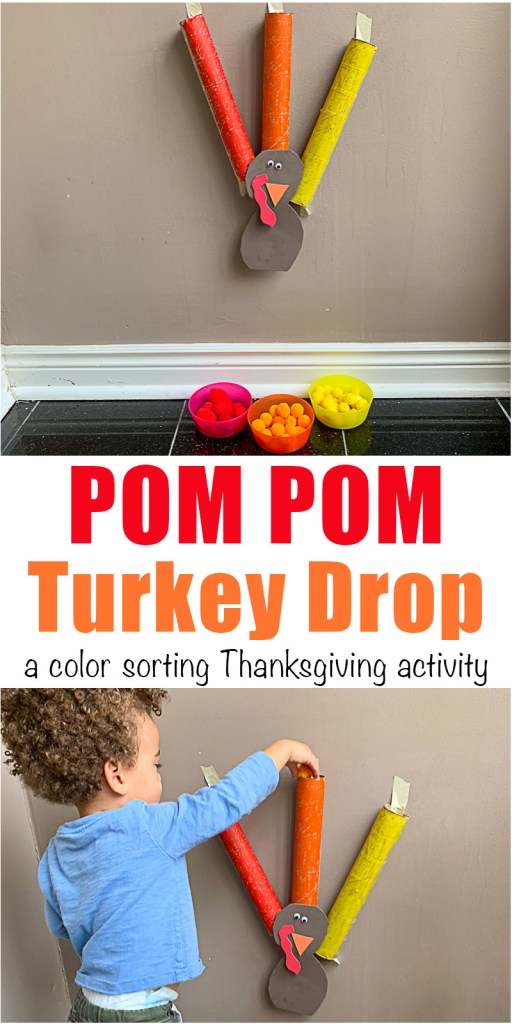 Pom Pom drop Thanksgiving Turkey for toddlers and preschoolers