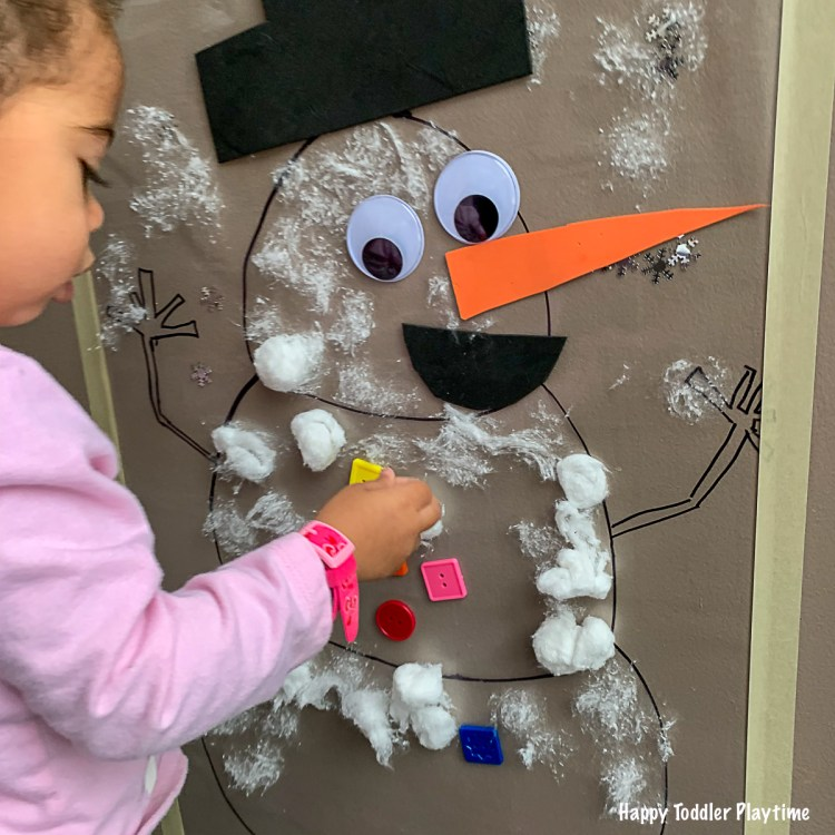 Snowman sticky wall Christmas and winter activity for toddlers