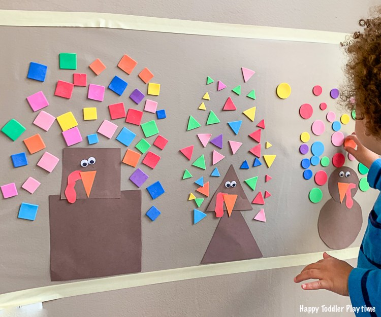 turkey Shapes Sticky Wall thanksgiving activity for toddlers and preschoolers