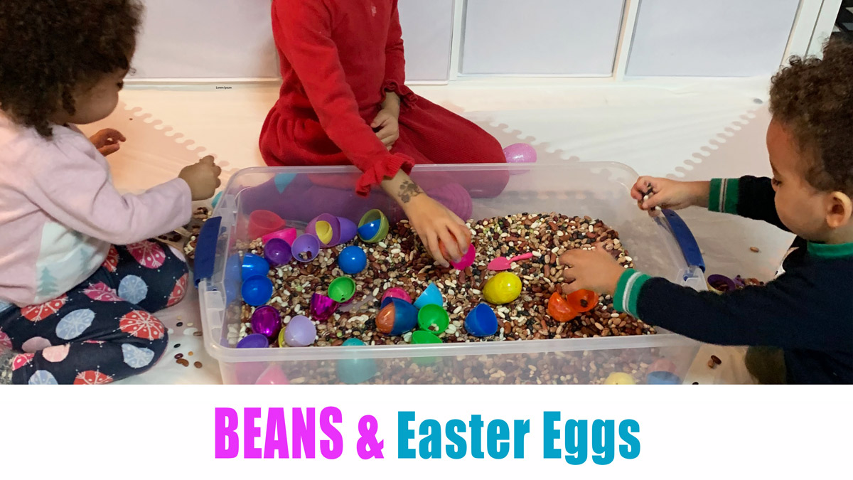 Beans and Easter Eggs Sensory Bin