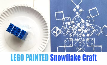 Lego Painted snowflake craft for toddlers and preschoolers