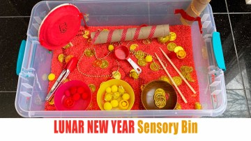 Lunar New year sensory bin for toddlers and preschoolers