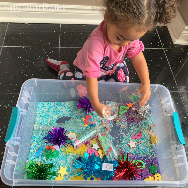Sensory activities are a fun way to ring in the new year with your toddler. Here are two amazing ideas with two very different fillers.
