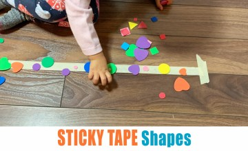 Sticky tape shapes toddler activity