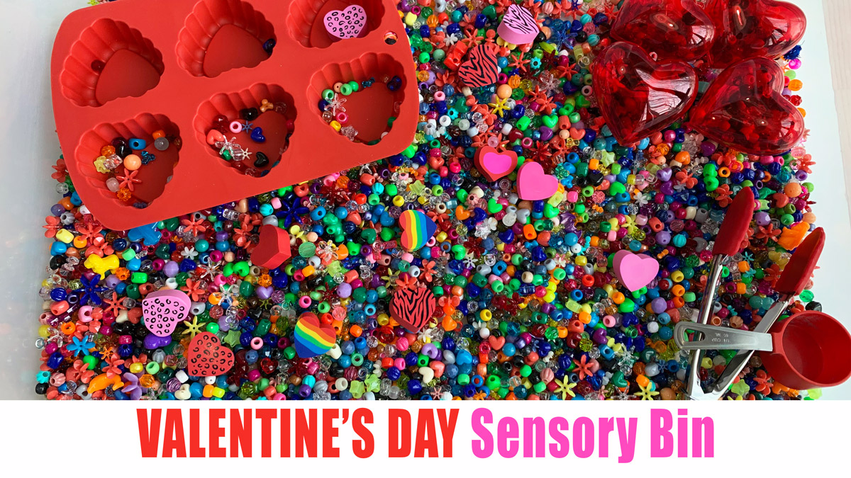 Valentines day sensory bin for kids