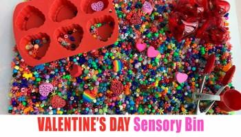 Valentines day sensory bin for kids