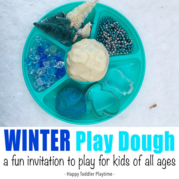 Winter play dough invitation to play for kids of all ages