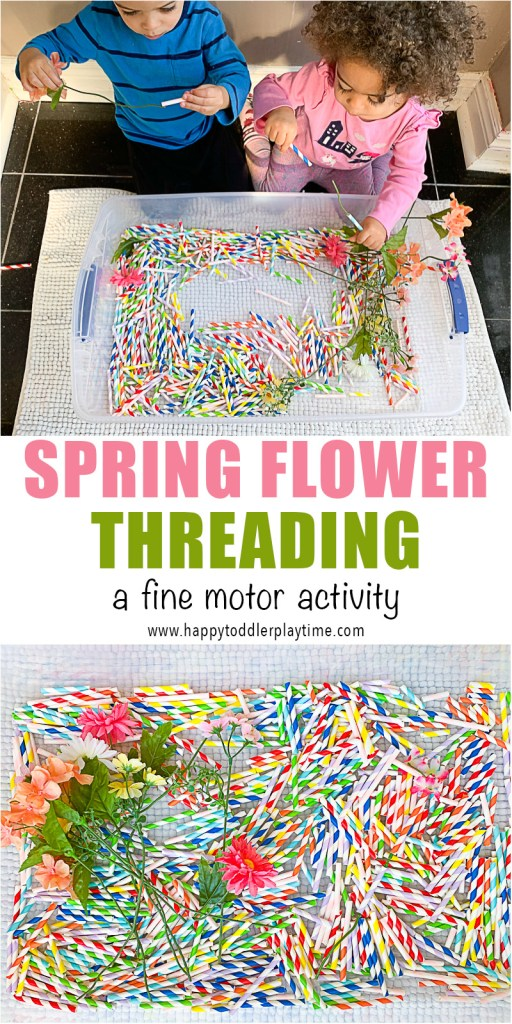 Here is a beautiful spring flower threading fine motor skill activity to do this spring using straws and flowers! This is perfect for toddlers and preschoolers.