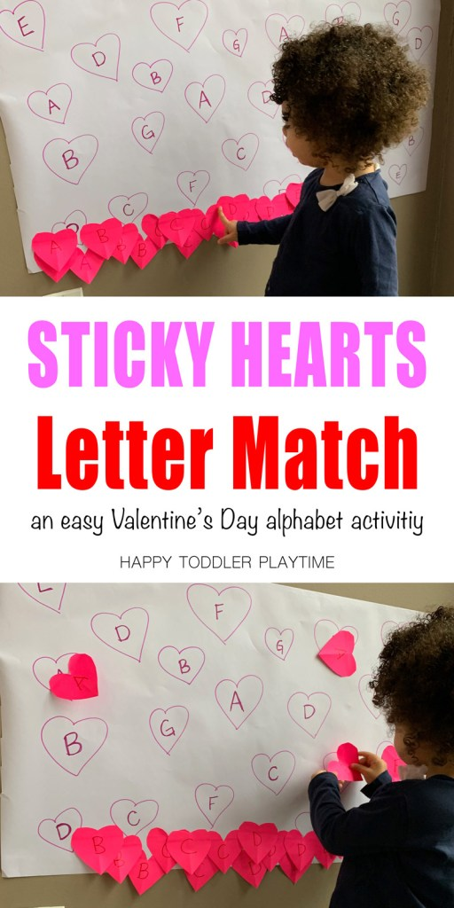 sticky hearts letter match VALENTINES DAY activity