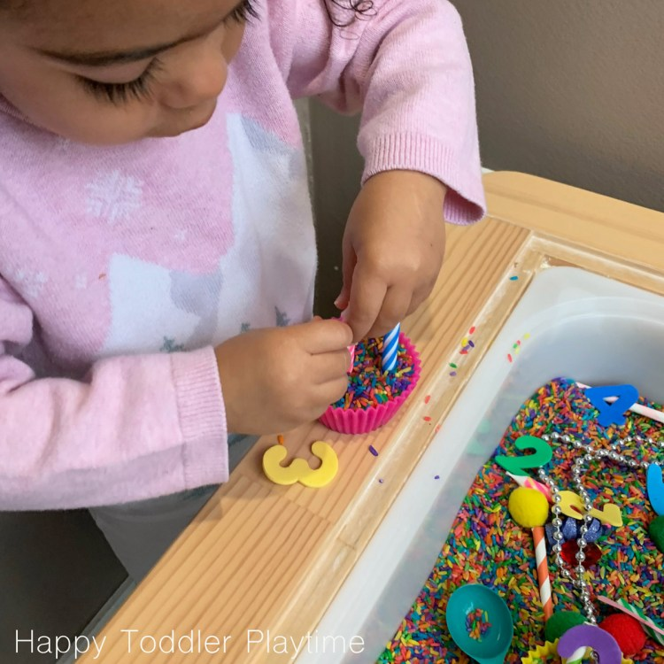BIRTHDAY MATH SENSORY BIN FOR toddlers and preschoolers