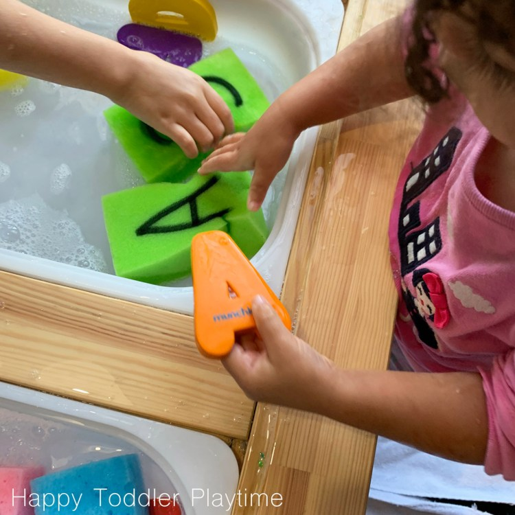 sponge letter match alphabet activity for toddlers and preschoolers
