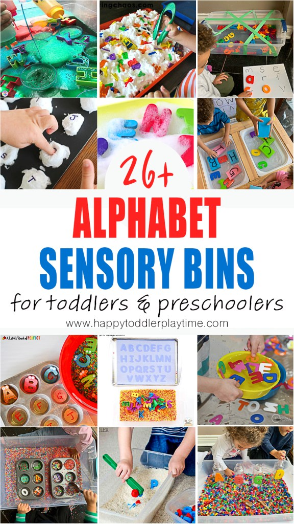 alphabet sensory bins for toddlers and preschoolers