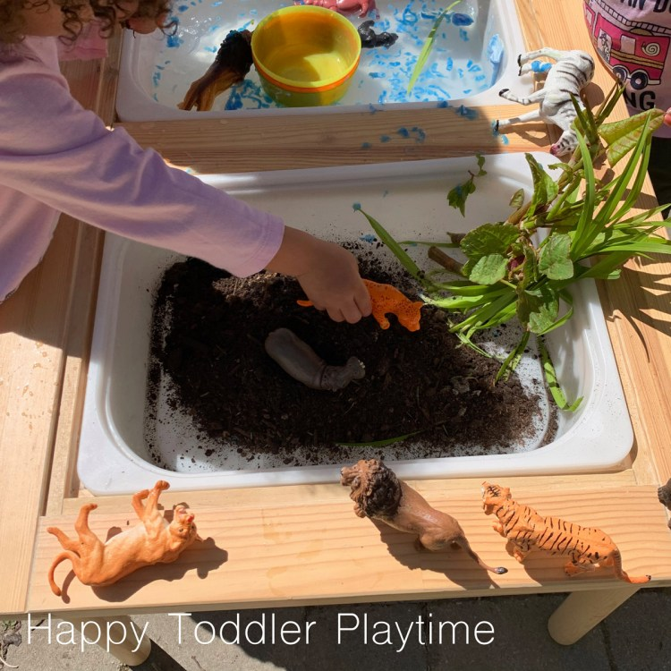 muddy zoo sensory bin for toddlers and preschoolers