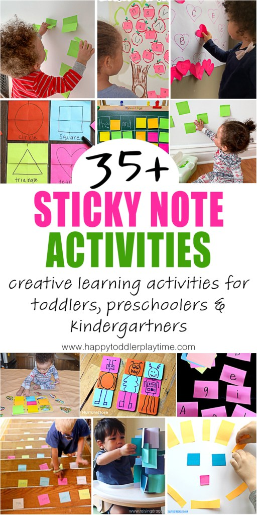 Sticky note activities for toddlers, preschoolers, kindergartners