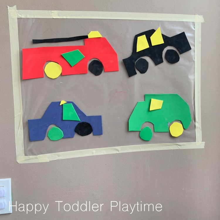 Build a car sticky wall activity for toddlers and preschoolers