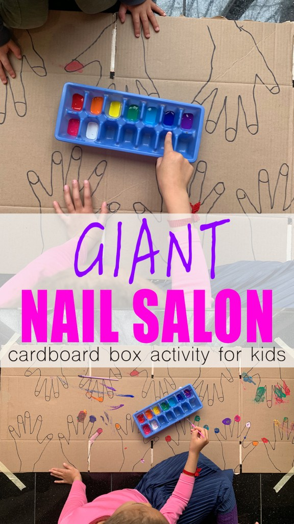 giant nail salon painting cardboard box activity