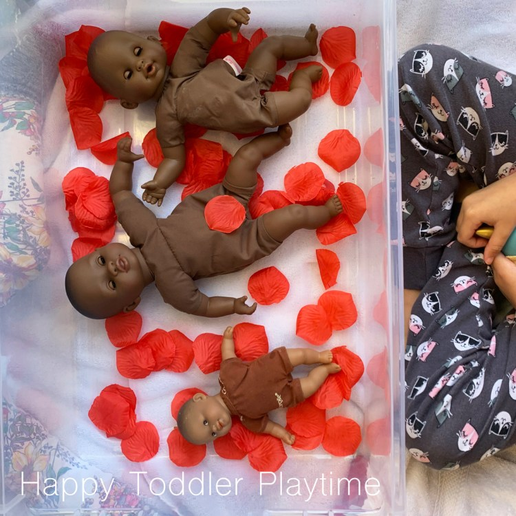 rose petal baby doll bath activity for toddlers preschoolers and kindergartners