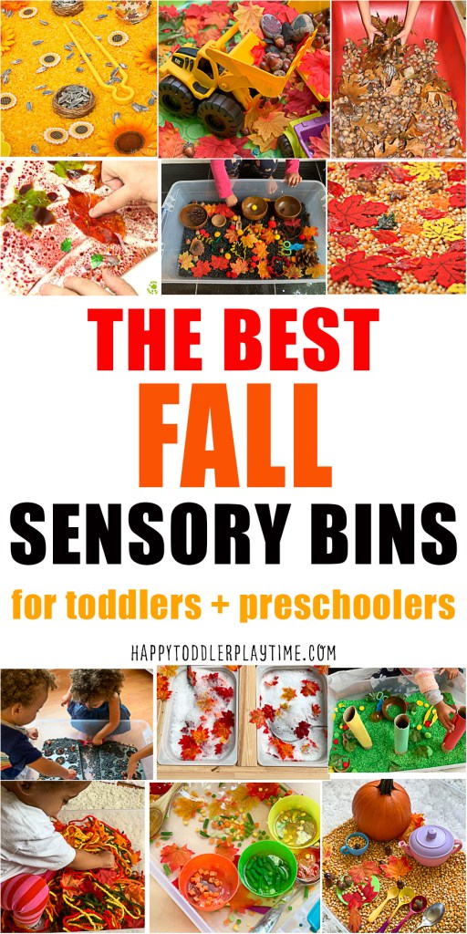 fall sensory bins for toddlers and preschoolers