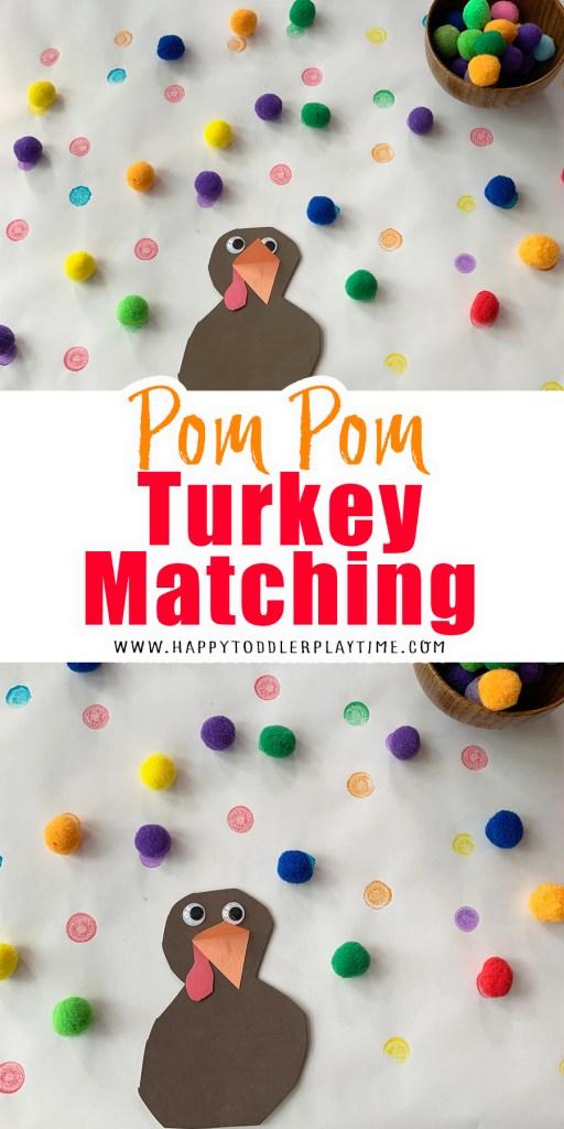 turkey Pom Pom matching thanksgiving activity