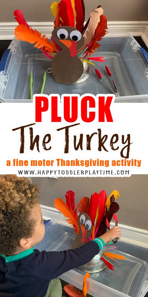 pluck the feather fine motor thanksgiving activity