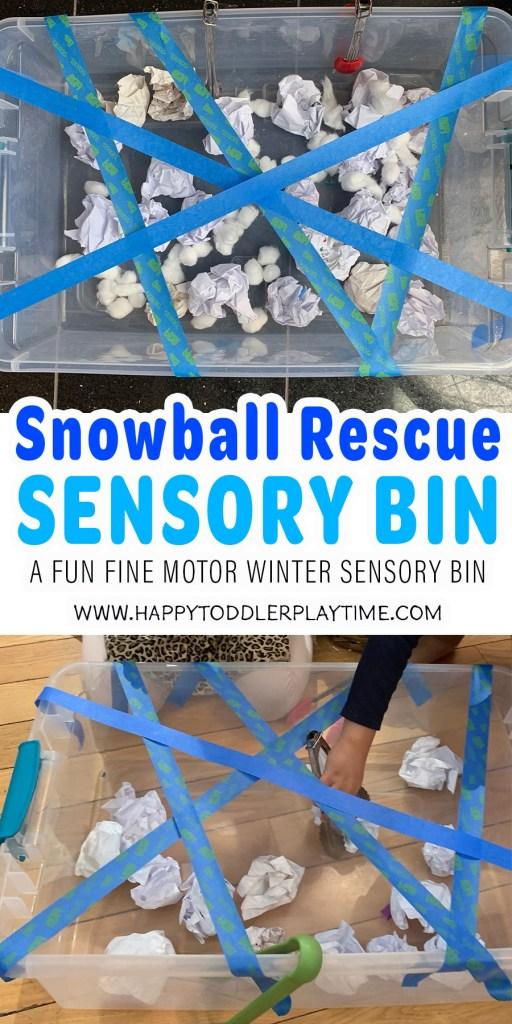 Snowball Rescue Winter Sensory Bin
