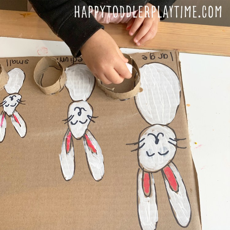 Easter Bunny Tail Size Sorting Activity for toddlers and preschoolers