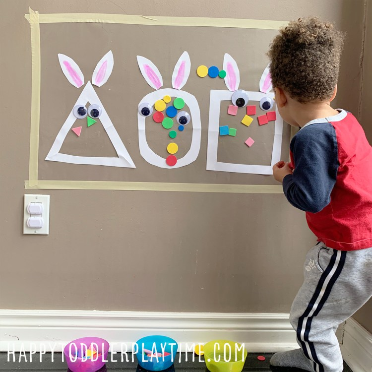 Easter Bunny Shape Sort Sticky Wall Activity