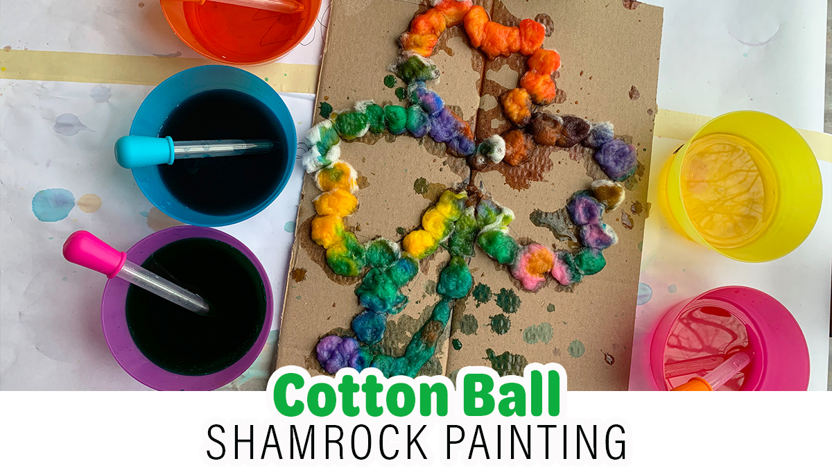 Cotton Ball Shamrock Painting for St. Patrick's Day