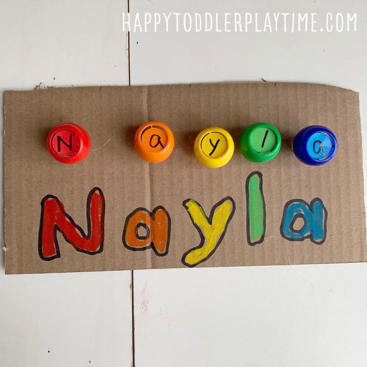 DIY Twist-Off Your Name Board: Fine Motor Activity