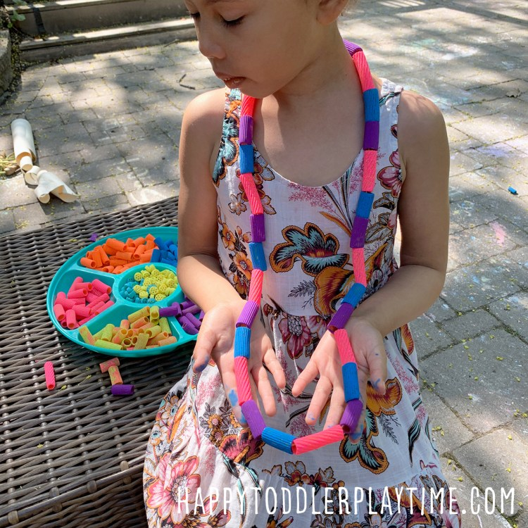 Painted Pasta Necklace Craft for Kids