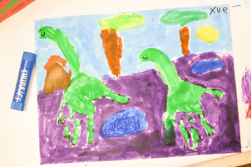 Handprint dinosaurs art for kids