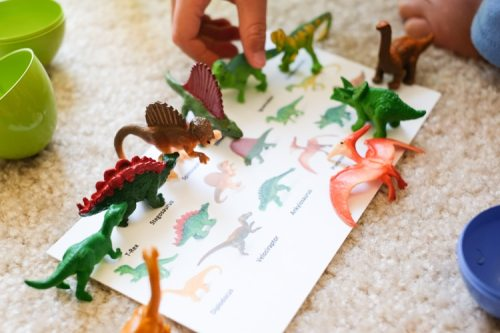 Dinosaur matching activity for toddlers