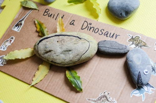 Build a dinosaur with stones