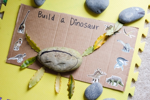 Make a dinosaur with stones invitation to create