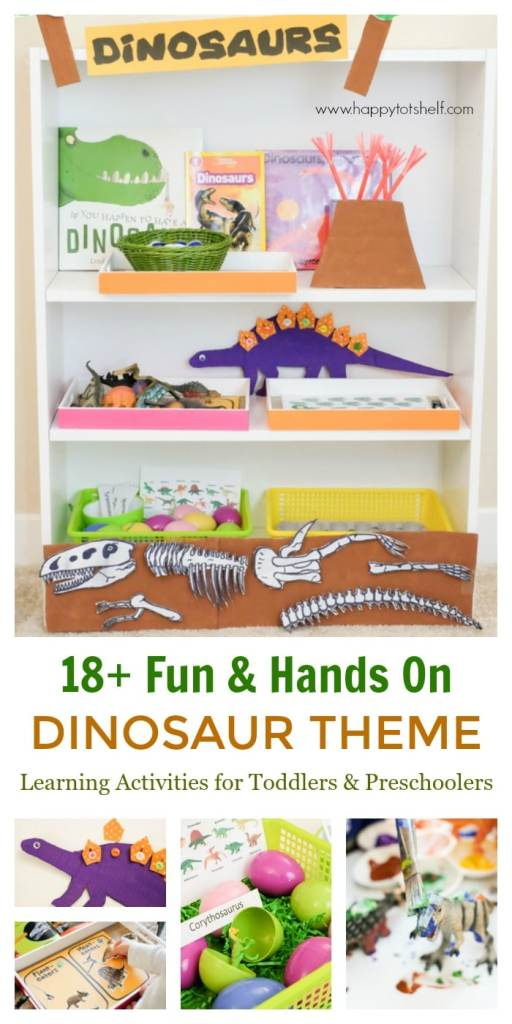 Dinosaur learning shelf and learning activities