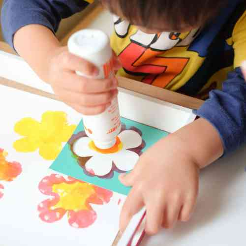 Flower stencil dot painting