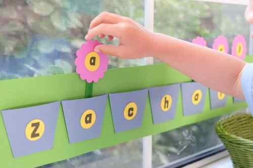 Plant a flower letter matching activity