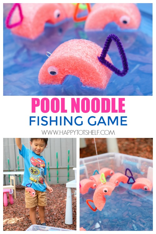 DIY fishing game with pool noodle