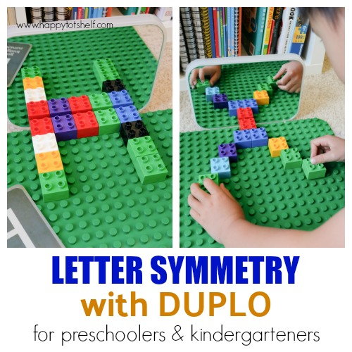 letter symmetry with duplo for kindergarteners