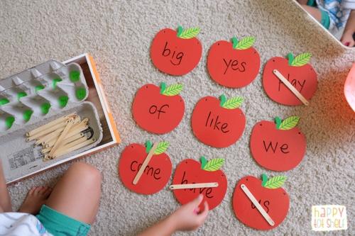 apple theme sight word activity