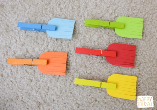 Broomstick color matching activity for toddlers