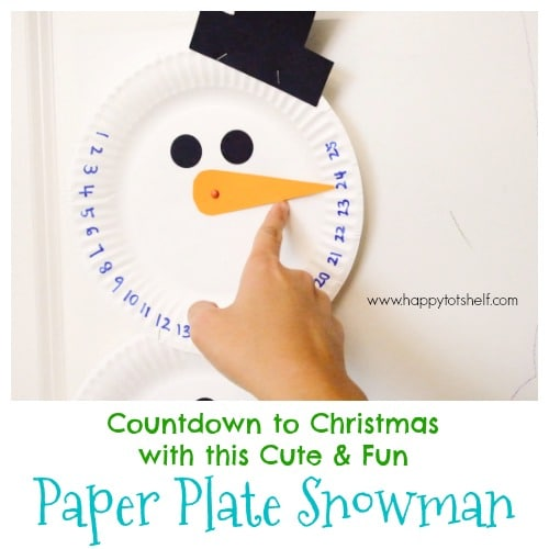 Paper plate snowman countdown craft