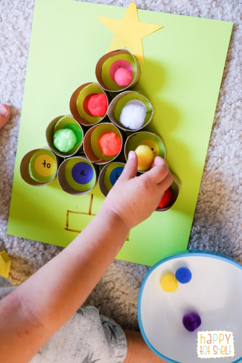 TP roll Christmas tree learning activity