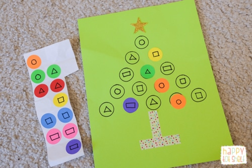 Christmas Tree Dot Stickers Shape Activity