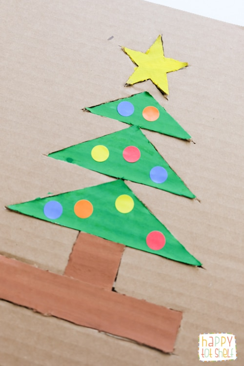 Christmas Tree Cardboard Puzzle Happy Tot Shelf