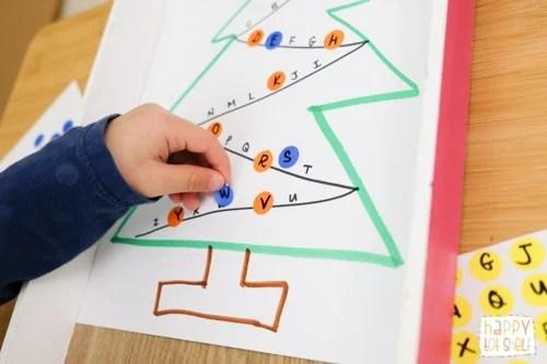 Dot sticker Christmas Tree letter matching