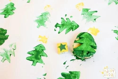 Christmas Tree Potato Printing